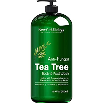 Antifungal Tea Tree Body Wash - HUGE 16 OZ - Helps Nail Fungus, Athletes Foot, Ringworms, Jock Itch, Acne, Eczema & Body Odor, Soothes Itching & Promotes Healthy Skin and Feet, Packaging May Vary