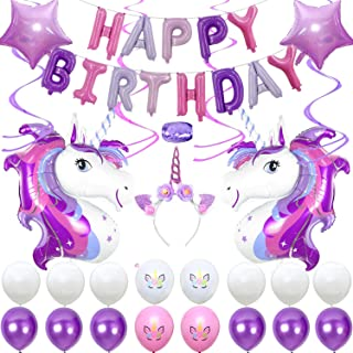 Purple Unicorn Birthday Party Supplies, Happy Birthday Decoration Set With Hanging Swirls, Five-Pointed Star Foil Balloon, White Pink And Purple Latex Balloons, Full Birthday Set 40PCS For Unicorn Birthday Party