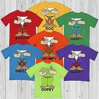Doc-Happy-Sneezy-Grumpy-Sleepy-Dopey-Bashful Seven Dwarfs Squad Team Group Halloween Costume Shirt Customized Handmade Hoodie/Sweater/Long Sleeve/Tank Top/Premium T-shirt
