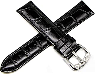 22MM Alligator Grain Genuine Leather Watch Strap 8 Inches Black Silver LP Initial Buckle