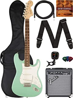 Best Fender Squier Affinity Series Stratocaster Bundle with Frontman 10G Amp, Gig Bag, Instrument Cable, Tuner, Strap, Picks, and Austin Bazaar Instructional DVD - Surf Green Review