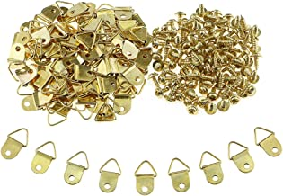 100 Stuks Foto Hanger D Ringen Fotolijst Opknoping Haken Hangers Canvas Haak Muurbeugel Hanger met Schroeven Rvs Gouden