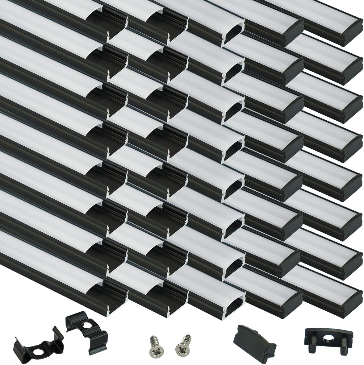 Muzata 40Pack 3.3ft 1M Black LED Milky System Channel White with Shipping included Seasonal Wrap Introduction