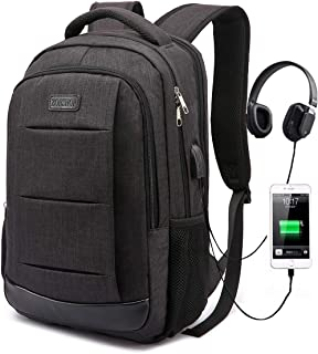 Backpack,College Student School Bookbag Travel Laptop/Computer Bag with USB Charging Port & Headphone Interface for Men Women Boys Girls,Business Water Resistant Fits 15.6 Inch Laptop Notebook,Black