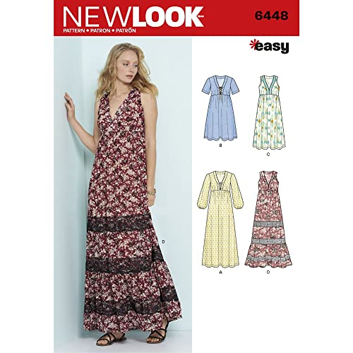 b4a6aef3950a9 New Look Sewing Pattern 6448A Misses' Easy V-Neck Dresses, Paper White,