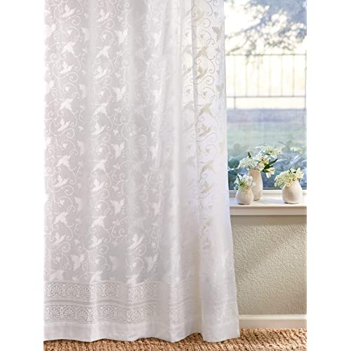 NOS white cotton lace edged curtain listing is for single curtain,C-8