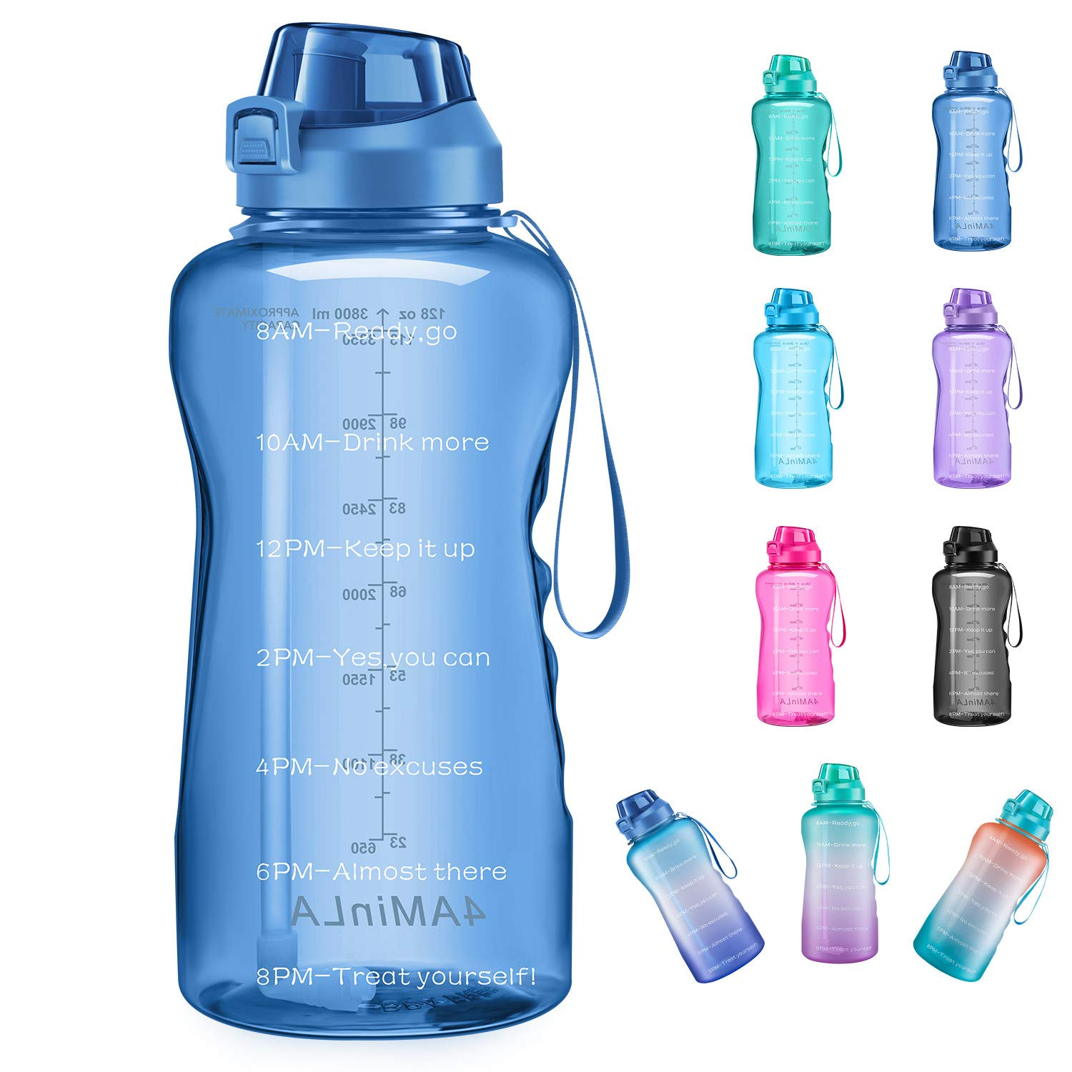64//100oz Motivational Water Bottle with Time Marker Half Gallon Water Bottle and Handle BPA Free Water Jug