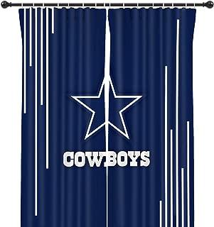 LEMOISTARS NFL Team Blackout Curtain Panels for Living Room,Bedroom, Basement Window Drapes 2 Panel Set (Dallas Cowboys, 72