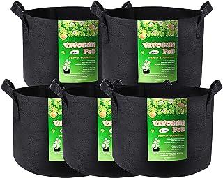 VIVOSUN 5-Pack 3 Gallon Plant Grow Bags, Premium Series Thichkened Non-Woven Aeration..