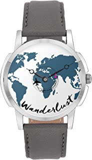 Travel Watch - BigOwl Airplane Wanderlust Design Leather Strap Casual Wrist Watch - Gifts for Travellers - Moving Airplane Hands