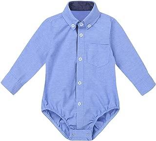 zdhoor Infant Baby Boys Long Sleeves Romper Formal Wedding Party Gentleman Shirt Lapel Collar Bodysuit Outfits