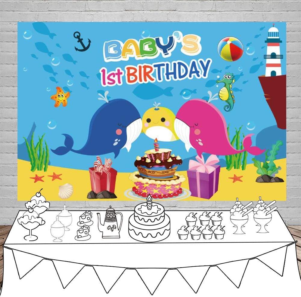 YEELE 12x8ft Cartoon Whale Backdrop Kids First Birthday Photography Background Nautical Theme 1st Birthday Cake Smash Banner Decoration Photo Studio Props Wallpaper