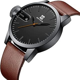 腕時計、メンズ腕時計、本革 シンプル カジュアル ファッション スポーツ 日付表示 防水 アナログ クォーツ レザー時計 ブラウン ブラック