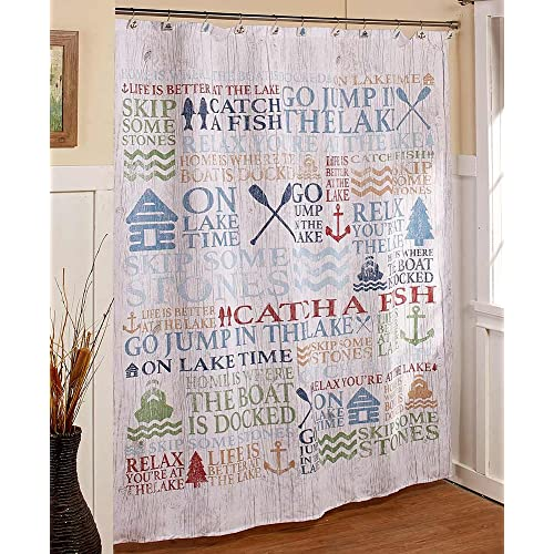 The Lakeside Collection Lake Words Fabric Shower Curtain House Cabin Bath Decor Vacation Home