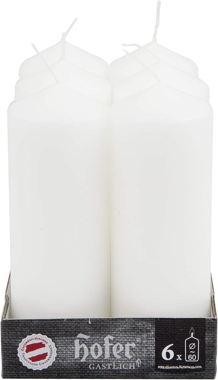 Colore Avorio 6 x 16,5 cm Lunga Durata: 54 Ore Hofer Candele Cilindriche a Colonna Cera Antigoccia Set di 12 Candele