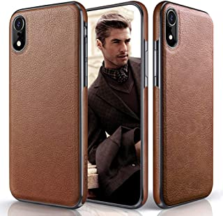 iPhone XR Case, LOHASIC Premium Leather Slim Fit Flexible Hybrid Defender Anti-Slip Soft Grip Scratch Resistant Protective Cover Soft Cases Compatible with Apple iPhone XR (2018) 6.1 inch - Brown