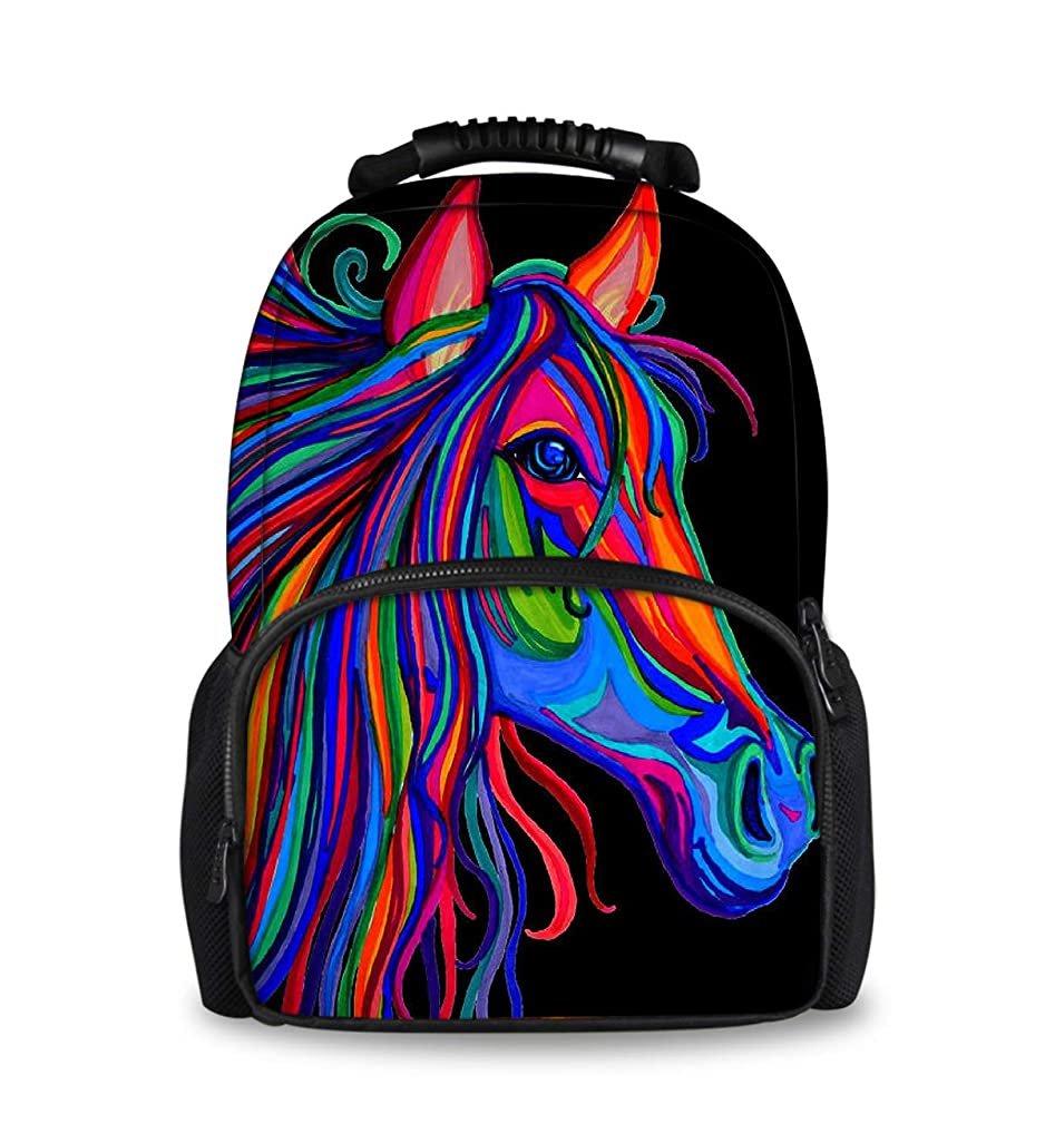 Unique Rainbow Horse Head Backpack for Students Boys Girls, Travel Outdoors - Water Resistant Backpack