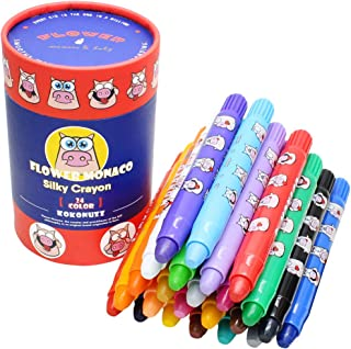 Lebze Washable Crayons for Toddlers - 24 Colors Non Toxic Twistable Crayons Set - Silky Bath Crayons for Kids and Babies Flower Monaco