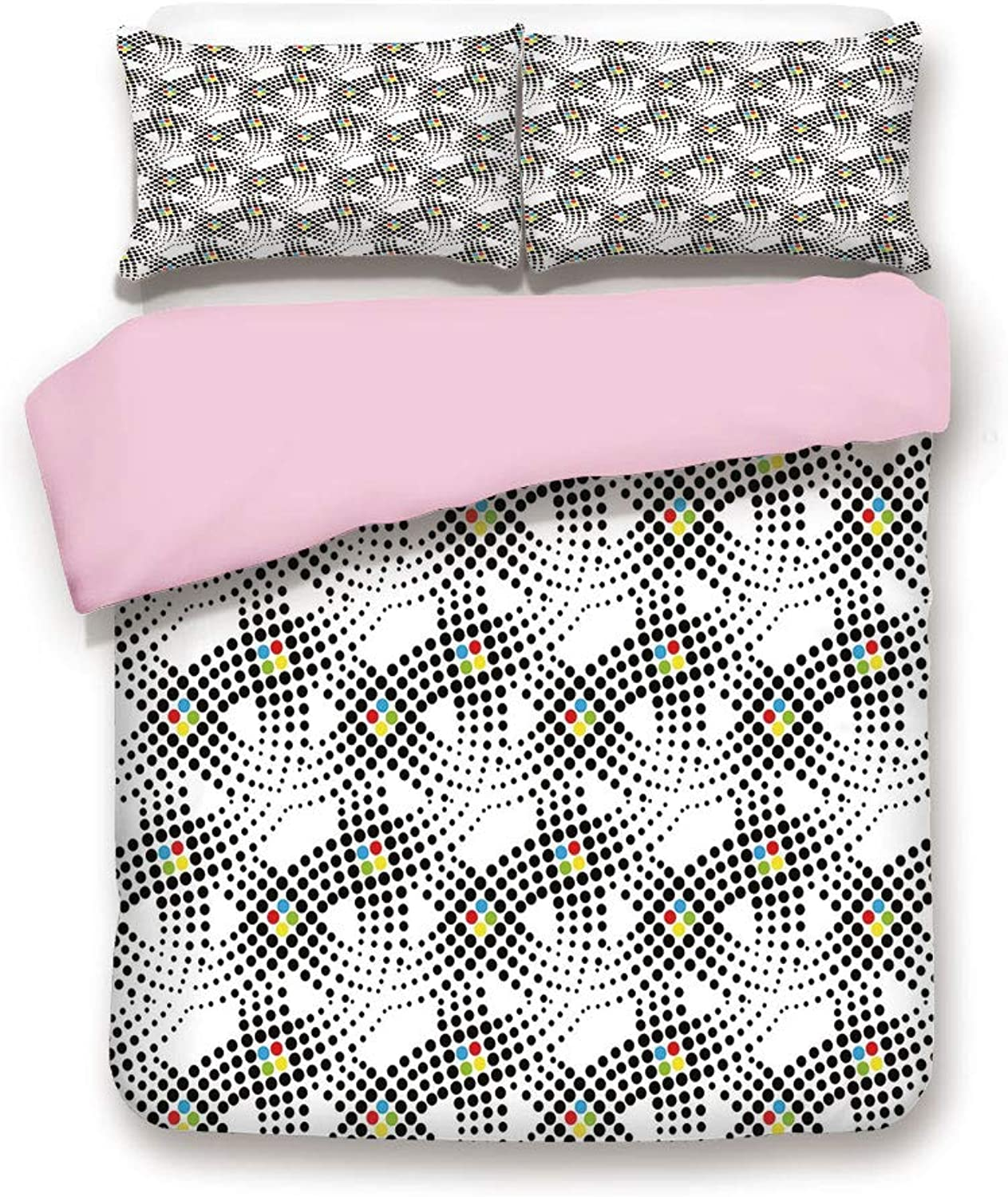 Pink Duvet Cover Set,Twin Size,Traditional Polka Dots Contrasting color Scheme Different Circle Designs Cubism Decorative,Decorative 3 Piece Bedding Set with 2 Pillow Sham,Best Gift For Girls Women,Mu
