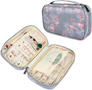 Teamoy Travel Jewelry Case, Jewelry Storage Organizer for Necklaces, Earrings, Bracelets, Rings, Brooches and More, Medium, Flamingo-(Bag Only)