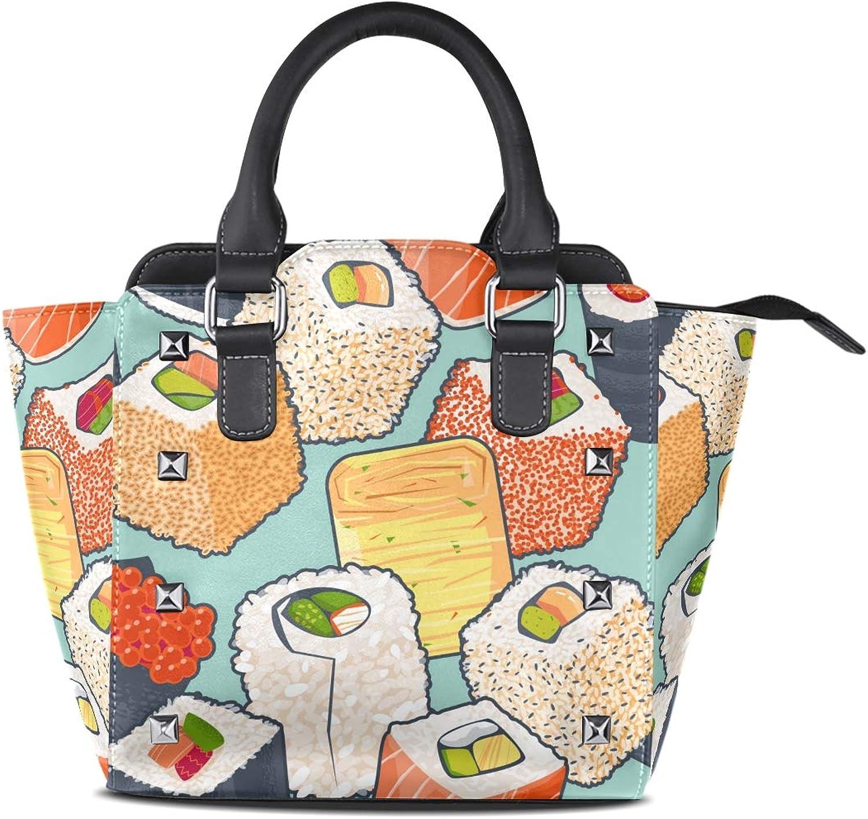 My Little Nest Women's Top Handle Satchel Handbag Cartoon Fashion Japanese Sushi Ladies PU Leather Shoulder Bag Crossbody Bag
