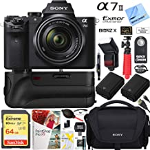 Sony Alpha a7II Mirrorless Interchangeable Lens Camera with 28-70mm F3.5-5.6 OSS Lens Bundle with 64GB Memory Card, Dual Battery, Bag, Table-top Tripod, Paintshop Pro 2018 and Accessories (10 Items)