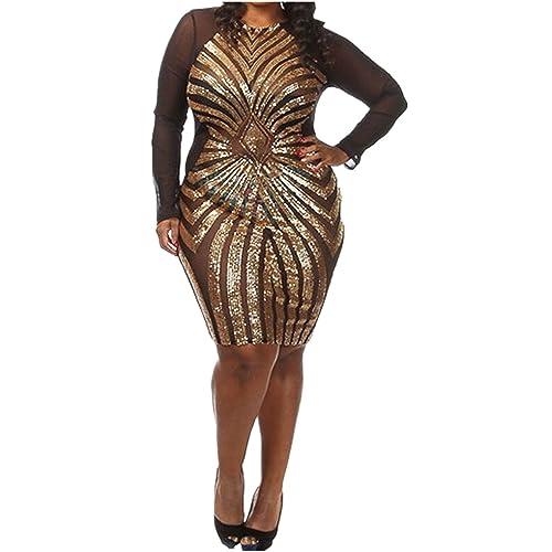 Plus Size Gold Dress: Amazon.com