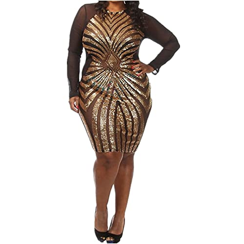 7340539858b VIVOSKY Women s Plus-Size Dress Diamond Pattern Gauze Sequined Slim Bodycon Cocktail  Dress