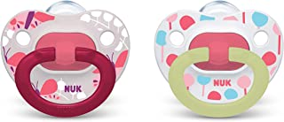 NUK Glow-in-The-Dark Orthodontic Pacifiers, Girl, 6-18 Months, 2-Pack