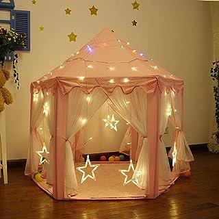 HO-TBO lektält, rosa flickor-lås-spel-tält prinsessa lekhouse barn inomhus leksak rosa spel hus present (färg: rosa, storl...