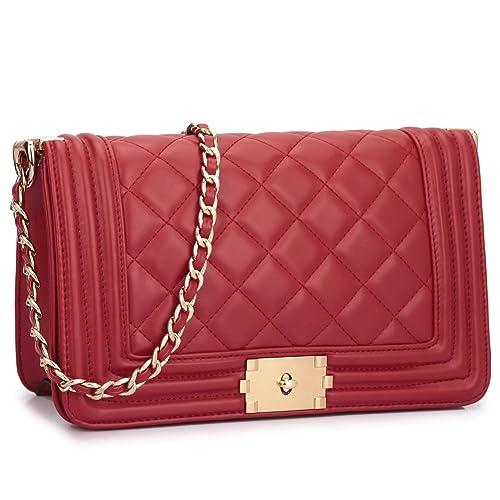 1430b9459 Dasein Women's Designer Quilted Crossbody Bags Twist Lock Shoulder Bags  Satchel Handbags w/Chain Strap