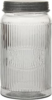 Stonebriar SB-5834A Pressed Glass Cookie Jar with Galvanized Lid, Clear
