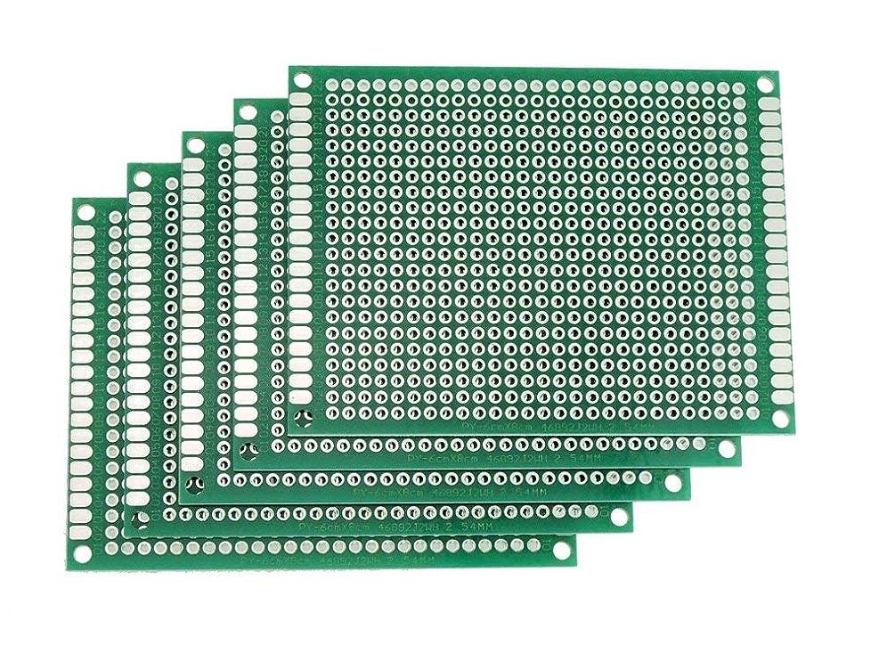 ピン味付け晴れ6cmx8cm 5枚セット ユニバーサル 基板 両面スズメッキ 鉛フリー基板 PCB回路基板 ユニバーサル プリント基板 DIY はんだ付け ユニバーサルプロトタイピングボード フリー基盤 両面 フリー基板 Rohs 電子工作