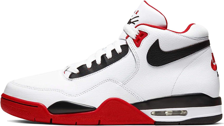Nike BQ4212-100: Men's Flight Legacy White/Black/University Red Sneaker (11 D(M) US Men)