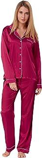 Zexxxy Women's Satin Pajama Set Long Button Down Sleepwear with Pants