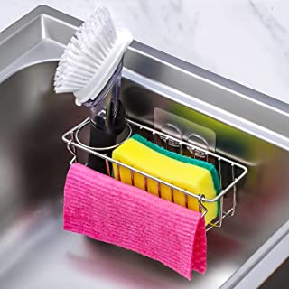 [Save Sink Space] 3-in-1 Adhesive Kitchen Sink Caddy Sponge Holder + Brush Holder + Dish Cloth Hanger, In-sink Dish Sponge...