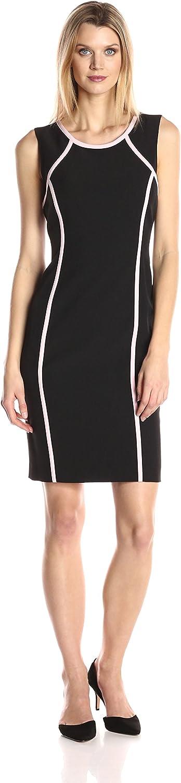Kasper Womens Jewel Neck Crepe Contrast Detailed Dress Dress