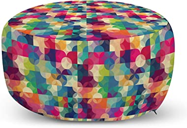 Lunarable Vintage Modern Ottoman Pouf, Intertwined Circles Pattern with Checkered Squares Rainbow Colored Design, Decorative Soft Foot Rest with Removable Cover Living Room and Bedroom, Multicolor