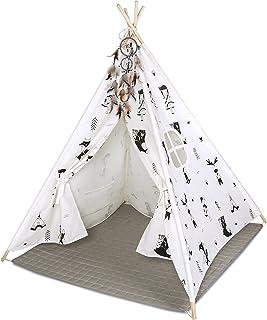 Hakuna Matte Tipi tält för barn – snyggt lektält i en skandinavisk design med lekmatta, drömfångare och bärkasse – barntäl...