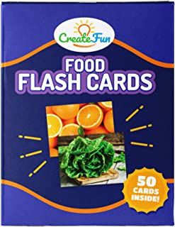 CreateFun Food Flash Cards - 50 Educational Vocabulary Development Picture Cards - with 4 Learning Games - for Parents, Teachers, Speech Therapy Materials and ESL - Toddlers Through Adults