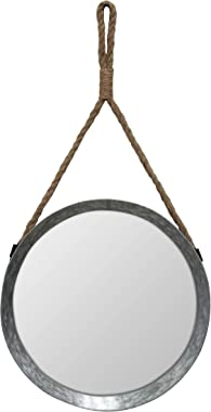 Stonebriar Rustic Round Galvanized Metal Mirror with Rope Hanging Loop ; Farmhouse Home Decor ; For Bathroom, Bedroom, and Li