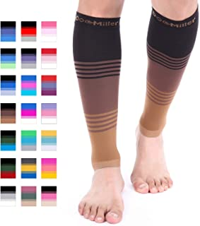 Doc Miller Premium Calf Compression Sleeve Dress Series 1 Pair 20-30mmHg Strong Calf Support Graduated Pressure Sports Running Recovery Shin Splints Varicose Veins (BlackBrownTan, Large)