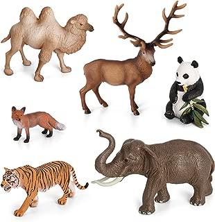 Volnau Animal Figurines Toys 6PCS Asia Animal Figures Zoo Pack for Toddlers Kids Preschool Educational Elephant Camel Panda Desert Jungle Forest Animal Toys Set, BPA Free
