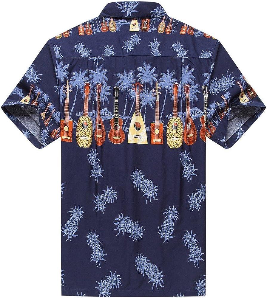 Hecho en Hawaii Camisa Hawaiana de los Hombres Camisa Hawaiana Música del Ukulele de la Cruz en Azul Marino