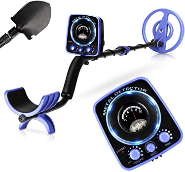 INTEY Metal Detector, Included Shovel and Carrying Bags, High-Accuracy Metal Finder with Waterproof Search Coil, Sound Prompt, Depth Indicator, Easy for Adults and Kids to Treasure Hunting