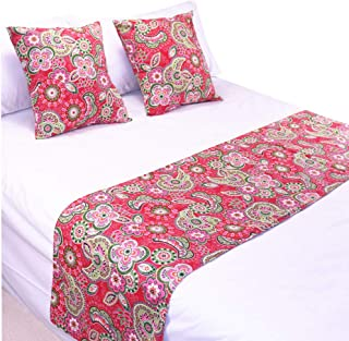 YIH Red Paisley Bed Runner and Throw Pillow Case Set, Luxury Decorative Bed Scarf Protector Slipcover for Bedroom Hotel We...
