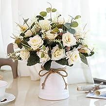 YILIYAJIA Artificial Flowers in Vase Silk Rose Flower Arrangements Fake Faux Flowers..