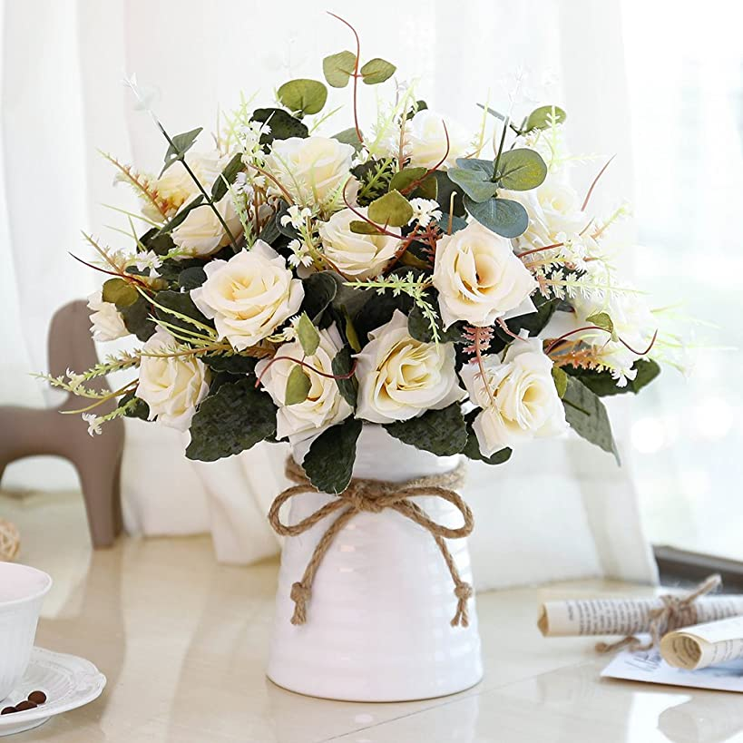 YILIYAJIA Artificial Rose Bouquets with Ceramics Vase Fake Silk Rose Flowers Decoration for Table Home Office Wedding (Champagne)