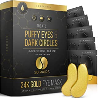 24K Gold Eye Mask– 20 Pairs - Puffy Eyes and Dark Circles Treatments – Look Less Tired and Reduce Wrinkles and Fine Lines ...