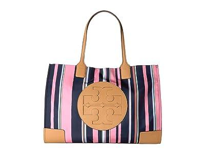 Tory Burch Ella Printed Tote (Canyon Stripe Vertical/Perfect Navy) Handbags